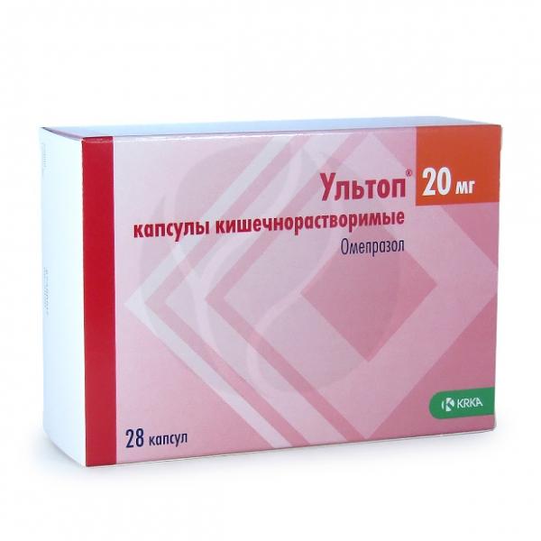 Ультоп капсулы 20мг, №28 Капсулы КРКА-РУС ООО Упаковка, купить в аптеке ВИТА