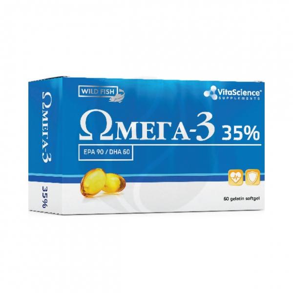 Vitascience Омега -3 35% капсулы БАД 700мг, №60 Капсулы МИРРОЛЛА ООО Банка, купить в аптеке ВИТА